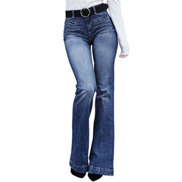 af3131058c Vintage cintura alta pierna ancha flare jeans para mujeres lindas damas de  cintura alta corte de campana pantalones vaqueros inferiores pantalones de  ...