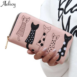 Zip Clutches Australia - Luxury High Quality Women Cat Cartoon Wallet Creative Female Card Holder Casual Zip Ladies Clutch Pu Leather Coin Purse