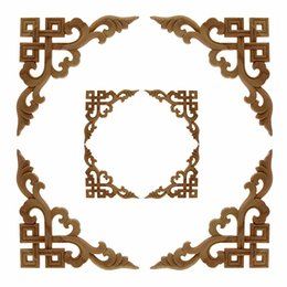 carving furniture Australia - VZLX Vintage Flower Pattern Wood Carved Unpainted Wood Oak Carved Round Onlay Applique Plaques Furniture for Home Decor Frame