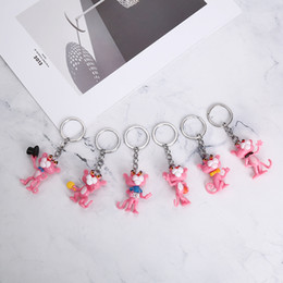 $enCountryForm.capitalKeyWord Australia - Pink Panther Korea Creative Cute Car Keychain Men's Wome n's Bags Pendant Decoration Couple Key Chain
