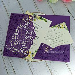 $enCountryForm.capitalKeyWord Australia - By DHL Gorgeous Purple Shimmer Laser Cut Wedding Invitations Pocket Wedding Invitation with RSVP Card DIY Invitation Jacket