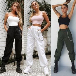 Wholesale women green harem pants for sale – dress Ladies Solid Punk Loose Long Pants Women Casual Autumn Harem Cargo High Waist Trousers