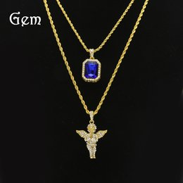small pendants NZ - New hip hop men's pendant set mini gem Jesus small gem men's necklace