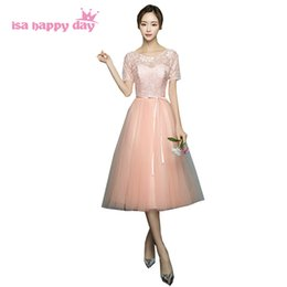 $enCountryForm.capitalKeyWord Australia - girls elegant peach colored lace top tulle bridesmaid dresses shoulder ladies ball gown dress gown for teens a wedding