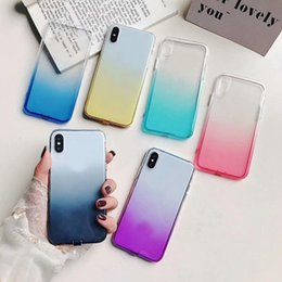 Iphone Crystal Case Australia - Gradient Soft TPU Case For Iphone XR XS MAX X 10 8 7 6 6S Plus Silicone Luxury Fashion Colorful Bicolor Hybrid Crystal Phone Cover Gel Skin