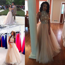 $enCountryForm.capitalKeyWord Australia - Sexy Two Pieces black girl Prom Dresses couples fashion High Neck Beaded Top nude Tulle Floor Length Formal Party Dresses Evening Gowns 1095