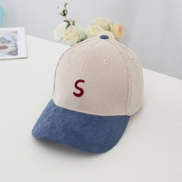 $enCountryForm.capitalKeyWord Australia - New children's curved baseball caps for spring and fall 2019;Corduroy embroidery letter S outdoor sun protection hat 5 colors 01