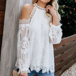$enCountryForm.capitalKeyWord Australia - Halter Sexy Cold Shoulder Women's Lace Blouse Top Black White Long Lantern Sleeve Shirts Ladies Summer Party Blouses Tops Woman SH190907