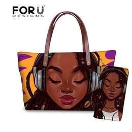 Hand Bag Printed Australia - FORUDESIGNS Purse&Handbags Women 2pcs set Travel Hand Bag Ladies Black Art African Girls Printing Shoulder Tote Bag for Female