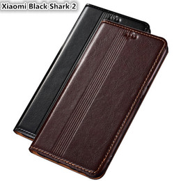 shark black NZ - QX14 Genuine Leather Case For Xiaomi Black Shark 2 Cover Magnetic Case For Xiaomi Black Shark 2 Phone Case Fundas With Card Holder