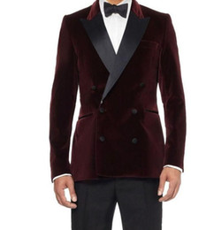 dark red tuxedos Australia - XLY Double-Breasted Dark Red Velvet Groom Tuxedos Groomsmen Men's Wedding Prom Suits Bridegroom men suits (Jacket+Pants+bow Tie)