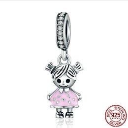 sterling silver boy charm UK - S925 Sterling Silver Stick Figure Charms include Mom Boy Girl Fit European Pandora Style Bracelets & Necklace