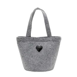 Pouch Pocket Small UK - Mini Cute Felt Bag Tote Felt Handbag Handbags Thickening Bento Bags For Women Ladies Female Small Pouch Pocket Shopper Bag Totes