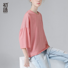 $enCountryForm.capitalKeyWord Australia - Toyouth Loose Batwing Three Quarter Sleeve Female T-shirts 2019 Summer Striped T Shirts For Women Casual Round Neck Tees Tops S19715