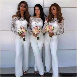$enCountryForm.capitalKeyWord Australia - 2019 Designer Jumpsuit Silk Bridesmaid Dress With Illusion Long Sleeves Lace Off Shoulder Formal Dresses Party Wedding Guest Dress robes de
