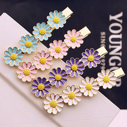 Wholesale cute Hairpin Korean Macaron color sweet little daisy flower hairpin clip bangs Polygonal Flower Hair Accessories Clips Hairwear Hair jewelry