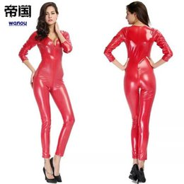 243b6d1151 Jumpsuit Clubwear Stagewear for Halloween Purim Party Pole Dancing Costumes  Sexy Deep V Neck Women Red Zip Patent Leather Bodysuit