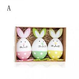 Piccoli giocattoli di Pasqua Bunny Egg fai da te di plastica pittura artigianale ornamenti regali di compleanno giocattoli educativi per bambini Bunny Egg Set MMA1326