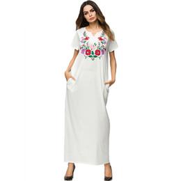 86fc624dd2c Weiße Blumenstickerei Maxi langes Kleid städtische beiläufige dünne Sitz T- Shirt-Kleider
