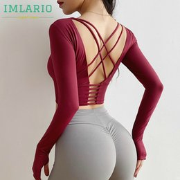 shirts sexy backs NZ - Imlario Open Back Active Crop Top Long Sleeves Tight Fit Women Yoga Sportswear Crisscross Red Gym Fitness T Shirt with Padded T200622