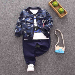 Baby Camouflage Jackets Australia - good quality newborn clothing set 0-24 months camouflage printed jacket+long sleeve T-shirt +pants autumn infant boys clothes sets