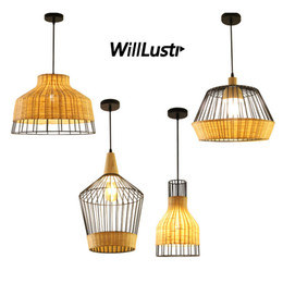 Chinese  Hand Knitted Bamboo Pendant Lamp Retro Iron Industial Suspension Hanging Light Hotel Restaurant Club Lounge Dining Room Bedroom manufacturers