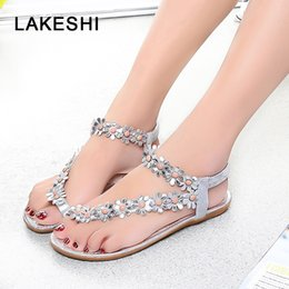 $enCountryForm.capitalKeyWord Australia - LAKESHI Women Sandals Fashion Summer Women Shoes Flip Flops Flowers Flat Sandals Bohemian Ladies Flat Shoes Beach