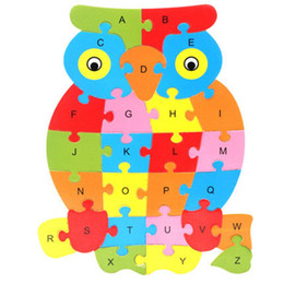 toddlers puzzles Canada - Children 26 Letters Cognition Early Learning Educational Baby Enlightenment Wooden Toy Toddlers Alphabet Cartoon Animals Puzzles