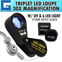 Magnification Loupes Australia - GEM-249 30x Magnification Jewelry Gem Loupe with UV & 6 LED Light, 21mm Optical Glass Achromatic Aplanatic Triplet Magnifiers Lens Portable