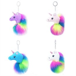 Artificial Chains Wholesalers Australia - New Fashion Unicorn Pony Keychain Lovely Fluffy Pendant Artificial Rabbit Fur Key Chain Bag Car Key Ring Hang Bag Accessories