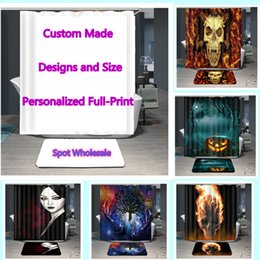Curtains styles designs online shopping - Waterproof Shower Curtains with Hooks Customize Designs Full Print Polyester Bathroom Curtains Carpet Spot Designs x180 cm