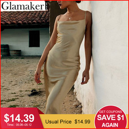 $enCountryForm.capitalKeyWord Australia - Glamaker Strap Satin Red Sexy Bodycon Long Dress Women Backless Summer Lace Up White Party Dress Elegant Gold Maxi Beach Dress J190509