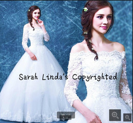 $enCountryForm.capitalKeyWord Australia - 2019 new fashion ball gown 3 4 sleeve modest wedding dress beading pearls princess puffy corset bridal gowns best selling wedding gowns