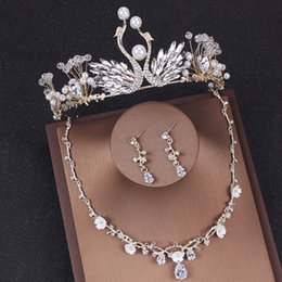 Cheap Platinum Earrings Australia - Three Pieces Cheap Earrings Necklines Crowns Crystals Wedding Tiaras Beaded Bridal Crowns Rhinestone HeadPieces Comb Hair Accessories