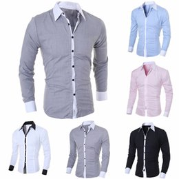 Slim Fit T Shirts Polyester Australia - Fashion Men's Slim Polyester Pure color Fit Shirt Long Sleeve Shirts Casual Shirt Buckle Turndown Collar Tops T-Shirts