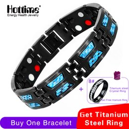 Fiber Link Australia - Hottime Double Row 4 In 1 Bio Elements Energy Bracelet Blue Carbon Fiber Magnetic Titanium Bangles & Bracelets Gift For Man Y19051002
