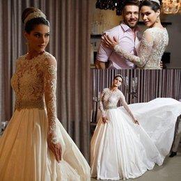 $enCountryForm.capitalKeyWord Australia - Vintage Long Sleeves Lace A Line Wedding Dresses Sequins Beading Sash Crew Neck Bridal Gown Court Train Arabic 143