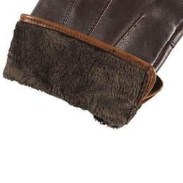 leather gloves for men Australia - Top Quality Genuine Leather Gloves For Men Thermal Winter Touch Screen Sheepskin Glove Fashion Slim Wrist Driving EM011
