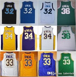 ee5466b1e0f NCAA Orlando 32 Shaquille ONeal Jersey Men Los Angeles 34 LSU Tigers New 33  O Neal College Robert G Cole Green Yellow White