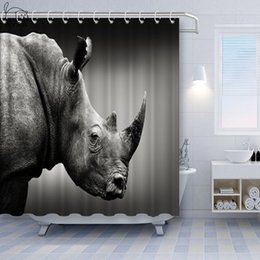 striped shower curtains Canada - Vixm Wolf rhino lion zebra tiger and other black and white animal decoration waterproof Bathroom shower curtain Home decoration curtain