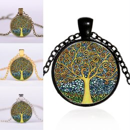 necklaces pendants Australia - New Vintage Tree of Life Pendant Necklaces Alloy DIY Cabochon Bronze Glass Chain Sweater Necklace Women Jewelry Xmas Gift 4 Colors M100F