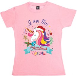 christmas decorations candy cane UK - I Am The Christmas Unicorn Decorations Candy Cane Womens Ladies T-ShirtFunny free shipping Unisex Casual Tshirt top