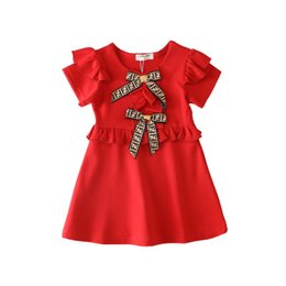 $enCountryForm.capitalKeyWord Australia - Girls Kids Designer Dresses 2019 Summer New Fashion Solid Color Dress Luxury Bow British Style Letter FF Princes Dress Kids Clothing