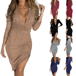 sexy metal dresses NZ - 2019 spring new long skirt Europe and America sexy deep V-neck sparkling crystal long sleeve irregular dress metal color dress free to send