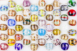 Gold Sand Lampwork Wholesale Australia - Wholesale 1200Pcs Summer Style Gold Sand Murano Glass Lampwork Bands Ring Birthday Men Women Wedding Party Valentine Gift DHL SHIPPING FREE