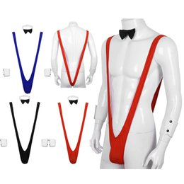 stretchy strings NZ - Sexy Men Stretchy Strings Thongs Bodysuit Borat Swimsuit Mankini with Bowtie Cuffs Set Gentleman Costume Gay Swimwear Underwear