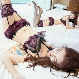 $enCountryForm.capitalKeyWord Australia - 2019 super sexy perspective open-breasted bikini lingerie extremely seductive three-point feather passion suit manufacturer direct sales