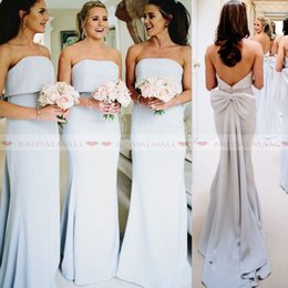 StrapleSS big wedding dreSSeS online shopping - Cheap k19 Strapless Satin Bridesmaid Dresses Long With Big Bow Sash Sexy Backless Maid Of Honor Dress Simple Wedding Guest Gowns Party Ball