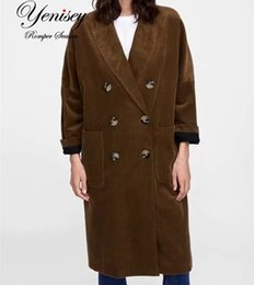 coats factories NZ - E0919T12 Europe and America 2018 autumn new product corduroy long coat 6370 factory SH190902