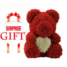 artificial valentines gifts Canada - DropShipping 40cm Red Teddy Rose Bear With Love Heart Artificial Flower Decoration Valentines Day Gift Womens Mother Day Gift